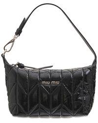 Miu Miu - Gesteppte Handtasche Aus Nylon-ciré - Lyst