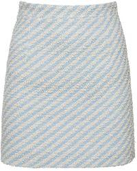 Alessandra Rich コットンブレンドツイードミニスカート - ブルー
