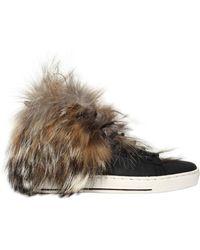 Black Dioniso Sneakers De Piel Y Piel De Coyote 20mm - Multicolor