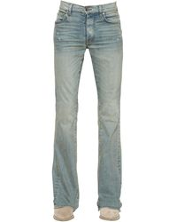 Amiri 27cm Flared Stack Cotton Denim Jeans - Blue