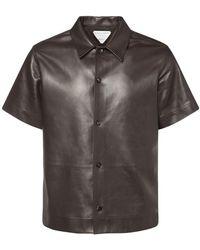 Bottega Veneta Kurzärmeliges Hemd Aus Leder - Schwarz
