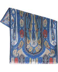 Etro Calcutta ウール&シルクストール - ブルー
