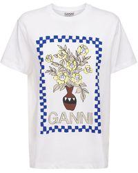 Ganni オーガニックコットンジャージーtシャツ - ホワイト