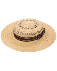 Kreisi Couture Michelle Straw Boater Hat - マルチカラー
