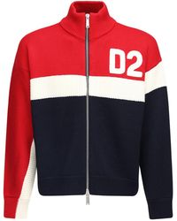 DSquared² Flocked Logo Zip-up Wool Knit Jumper - Red