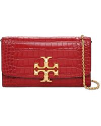 Tory Burch Eleanor Croc Embossed Leather Clutch - Red