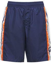 Gucci Interlocking G Nylon Swim Shorts - Blue