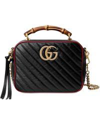 Gucci Bamboo Handle Marmont Shoulder Bag - Black