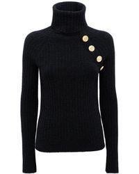Balmain ウールブレンドニットタートルネックセーター - ブラック