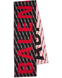 Balenciaga Schal Aus Wollmischjacquard Mit Logo - Schwarz
