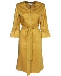 Max Mara Canvas Kaftan Midi Dress W/self-tie Belt - Yellow