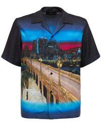 Amiri Cityscape シルクツイルシャツ - ブルー