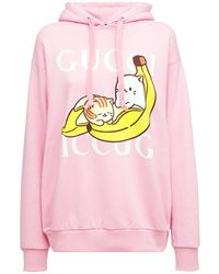 Gucci コットンジャージースウェットフーディー - ピンク