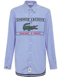 Lacoste Рубашка Из Хлопка С Логотипом - Синий