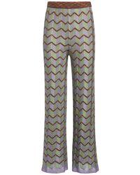 M Missoni Zig Zag Pattern Knit Lurex Trousers - Multicolour