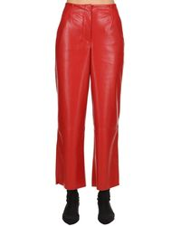 Nanushka Faux Leather Trousers - Red