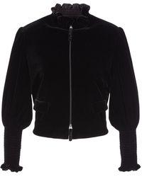 Giorgio Armani ビスコース&シルククロップドジャケット - ブラック