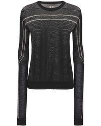 Rick Owens シアーヴァージンウールニットセーター - ブラック