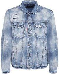 DSquared² Distressed Cotton Denim Jacket - Blue