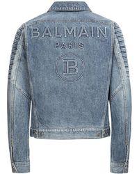 Balmain Куртка Из Хлопкового Денима - Синий