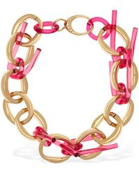 Colville Twisted Tube Hoop Necklace - Pink
