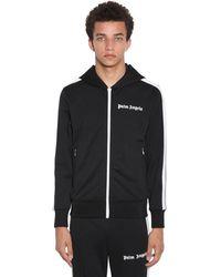 Palm Angels Logo Print Tech Jersey Hood Track Jacket - Black