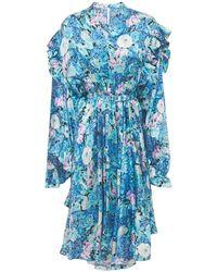 Balenciaga Атласное Платье С Принтом - Синий