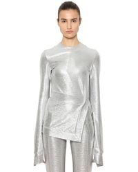 Paco Rabanne Top In Jersey Stretch - Metallizzato
