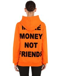 MAKE MONEY NOT FRIENDS Kapuzensweatshirt Aus Baumwolle Mit Logodruck - Orange