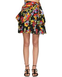 Carolina Herrera Floral Printed Cotton Faille Mini Skirt - Schwarz