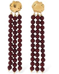Elise Tsikis - Madera Red Pearls Pendant Earrings - Lyst