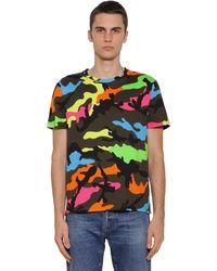 Valentino T-shirt Aus Baumwolljersey Mit Druck - Grün
