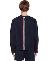 Thom Browne - Cotton Jersey Sweatshirt W/ Knit Stripe - Lyst