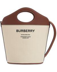 Burberry キャンバス&レザーバケットバッグ - ブラウン