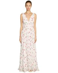 Giamba - Floral Embroidered Georgette Long Dress - Lyst