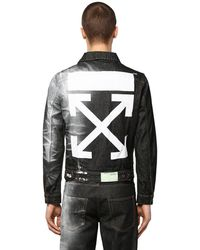 Off-White c/o Virgil Abloh Printed Slim Cotton Denim Jacket - Black