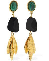 Sylvia Toledano Ebony Pendant Clip-on Earrings W/stones - Mehrfarbig