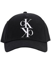 """Calvin Klein Casquette En Coton """"Ck"""" - Noir"""