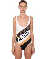 Fendi Mania Logo Printed Lycra Swimsuit - Черный