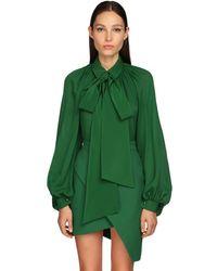 Elie Saab Silk Georgette Blouse - Green