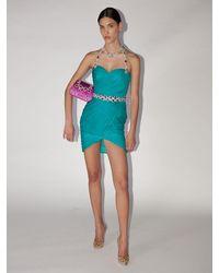Moschino Kleid Aus Seidenchiffon Mit Kristallen - Blau
