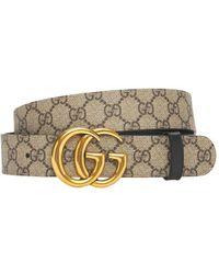 Gucci Двухсторонний Ремень Gg Marmont 3.7cm - Естественный
