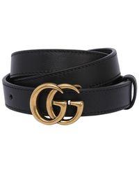 """Gucci Cintura """"Gg Marmont"""" In Pelle 20Mm - Nero"""