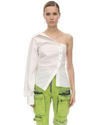 Marques'Almeida One Shoulder Draped Cotton Poplin Shirt - White