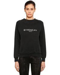 Givenchy Sudadera De Jersey De Algodón Con Logo Estampado - Negro