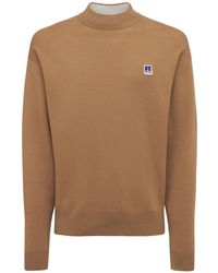 BOSS x Russell Athletic Cotton & Wool Knit Roll Neck Sweater - Natural