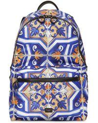 "Dolce & Gabbana ""Rucksack mit """"Majolica""""-Print"" - Blau"