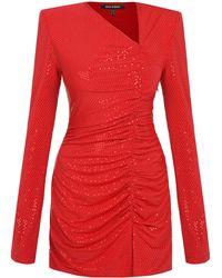 Mach & Mach Vestido Mini De Jersey Con Decoraciones - Rojo