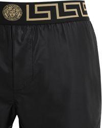 Versace ロゴ ナイロン水着 - ブラック