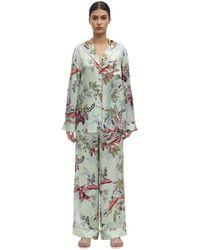 Luna di Seta Floral Print Silk Pyjama Set - Multicolour